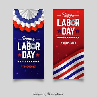 La fête du travail dans les bannières américaines