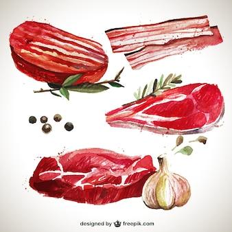 La viande peinte à la main