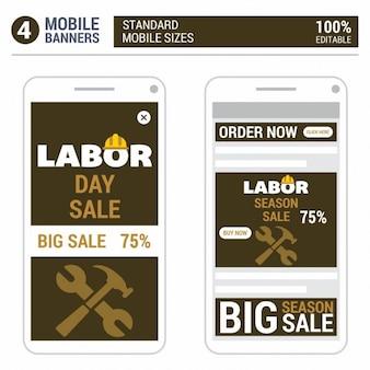 Labor Day Sale taille standard web banners set vectorielle Web Bannières