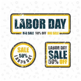 Labor day vente big grunge rubber stamp set