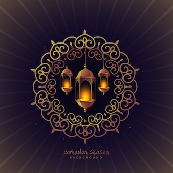 lampes festival ramadan dans floral frame