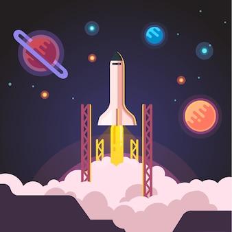 Lancement de la navette à la fusée