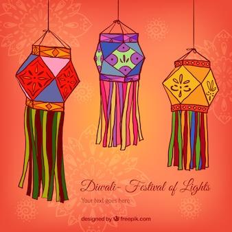Lanternes Diwali fond
