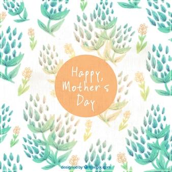 Le fond de la fête des mères avec des fleurs dans un style aquarelle