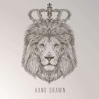 Le roi de lion tiré à la main