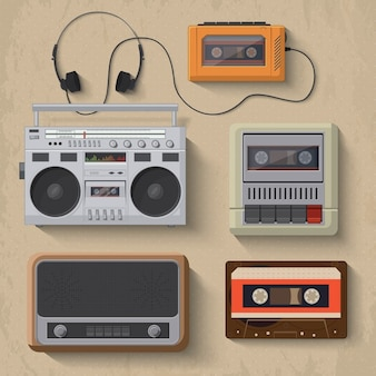 Lecteur de musique rétro icônes Vector illustration