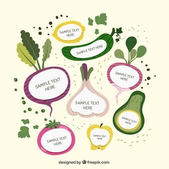 Légumes dessinés à la main avec du texte