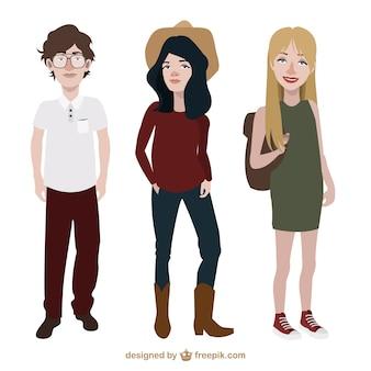 Les adolescents avec un style différent de vêtements