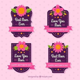 Les badges jour de mère fantastique avec des rubans roses et des fleurs