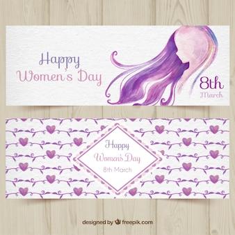 Les bannières de la Journée des femmes Aquarelle
