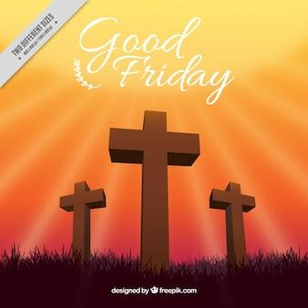 Les croix de bois vendredi saint fond