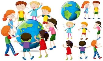 Les enfants autour de la terre