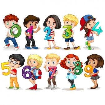 Les enfants avec la conception des numéros