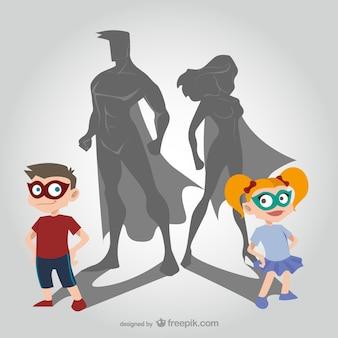 Les enfants et les super-héros des dessins animés