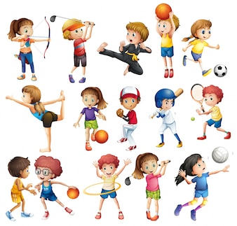 Les enfants jouent à divers sports sur blanc