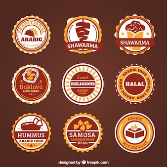 Les étiquettes des aliments arabes décoratifs