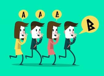Les gens d'affaires chuchotent un message aux gens du milieu mauvaise communication