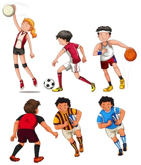Les gens font différentes illustrations sportives