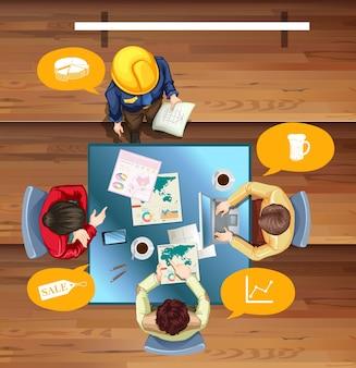 Les gens travaillent et se rencontrent à l'illustration de la table