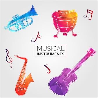 Les instruments de musique de conception de fond