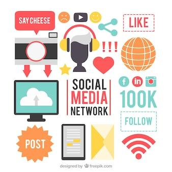 Les médias sociaux des éléments de réseau