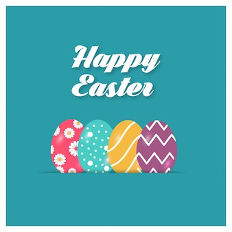 Les oeufs de Pâques icônes Vector illustration des œufs de Pâques pour Pâques vacances dessin sur fond bleu