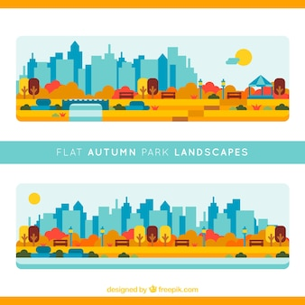 Les parcs avec la ville de fond