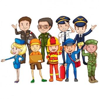 Les professionnels vêtus de leurs uniformes