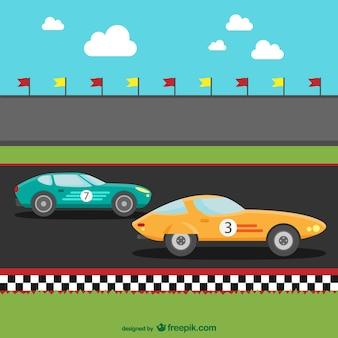 Les voitures de course de bande dessinée