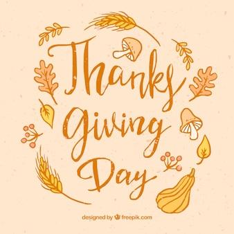 Lettrage de thanksgiving vintage avec des éléments dessinés à la main
