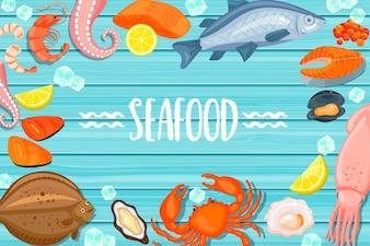 Lettre de fruits de mer sur fond de bois bleu
