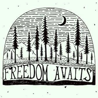 Liberté attend l'affiche de citation handdrawn grungy