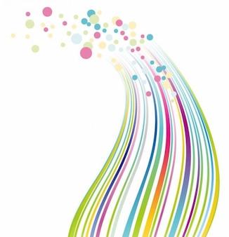 lignes colorées et fond vecteur points