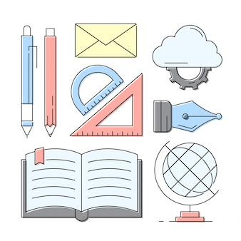 Linear Style Icons Education et éléments d'apprentissage
