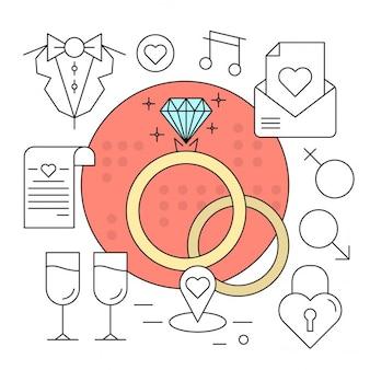 Linear style Vector Elements Icônes de mariage Minimal Set Colorful design