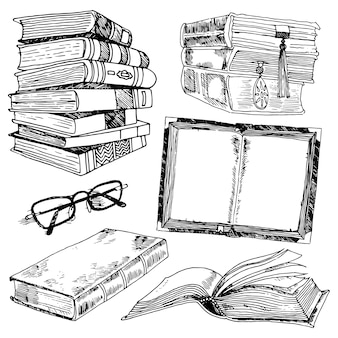 Livre et lunettes collection de bibliothèque croquis noir icônes décoratives ensemble illustration vectorielle isolée