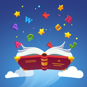 Livre magique diffusant des lettres d'alphabet diffusant
