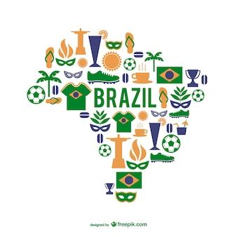 éléments graphiques du Brésil vecteur carte