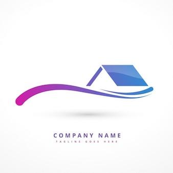Logo avec la maison et des vagues