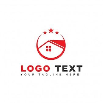 Logo avec une maison rouge