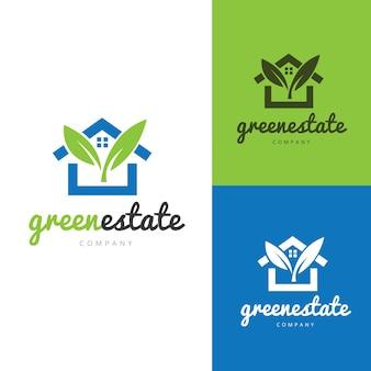 Logo maison verte et éco, logo immobilier, logo arbre. Modèle de logo de soins à domicile.