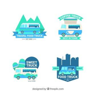 Logos de camions gastronomiques amusants avec design plat