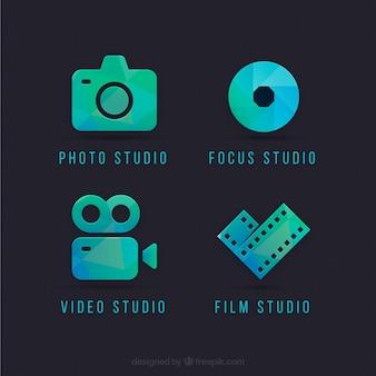 Logos de l'appareil photo en couleurs vert et bleu