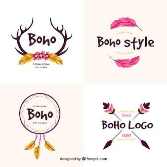 Logos décoratifs avec des éléments ethniques