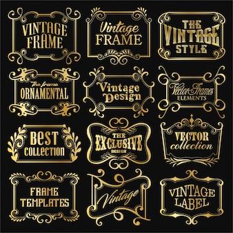 Logos et modèles de cadres dorés anciens