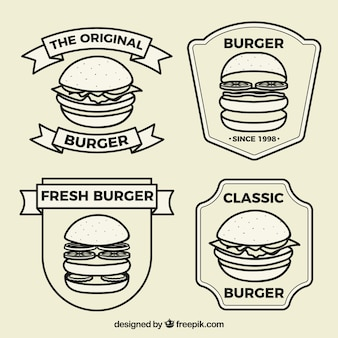 Logos plats avec différents types de burgers