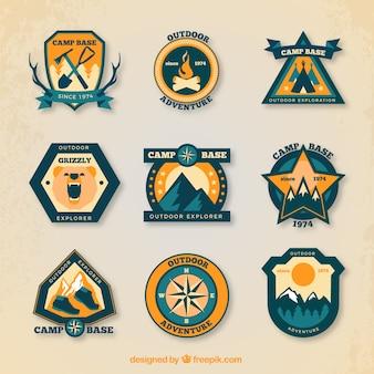 Lot de badges de camping