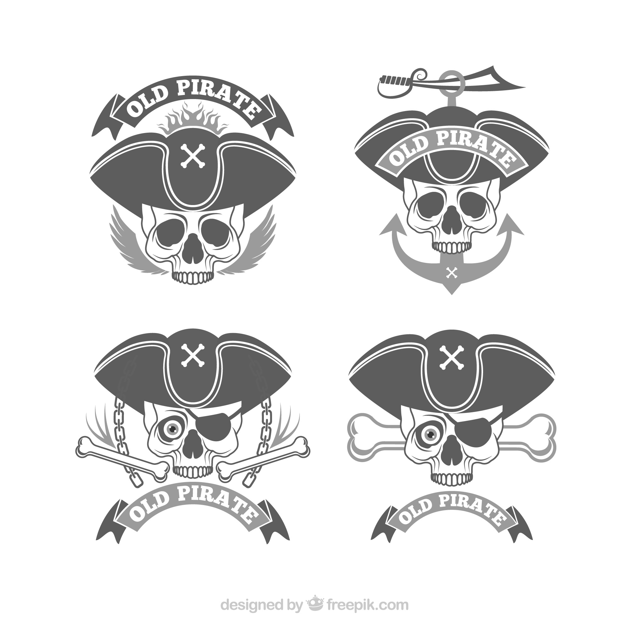 Lot de badges de crâne de pirate