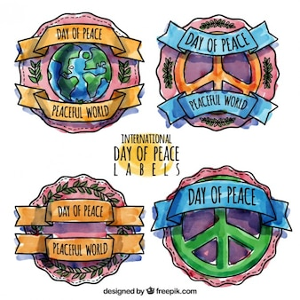 Lot de badges jour aquarelle de paix