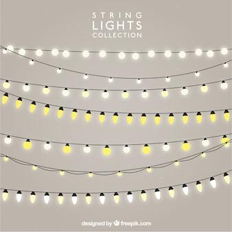 Lot de chaînes avec des ampoules lumineuses